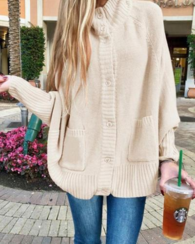 High Neck Button Up Batwing Sleeve Sweater Coat