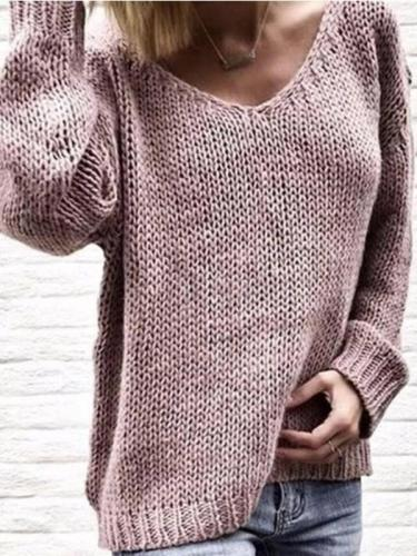 Knitted Casual Long Sleeve Sweater