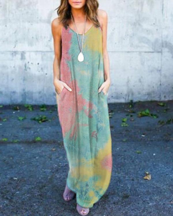 Tie-dye Maxi Dress With Pockets