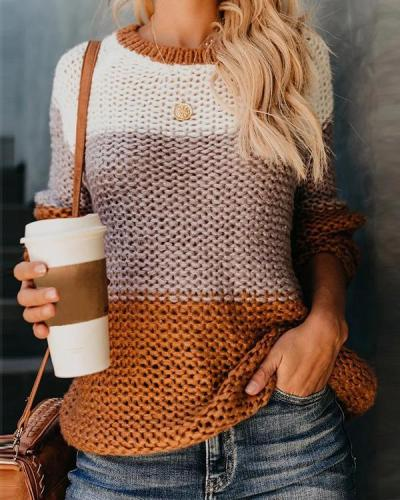 Color Collision Crew Neck Hollow Pullover Sweater