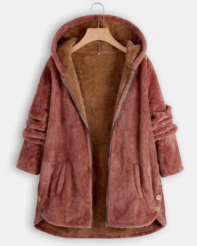 Fuzzy Winter  Hooded Coat Warm Coat