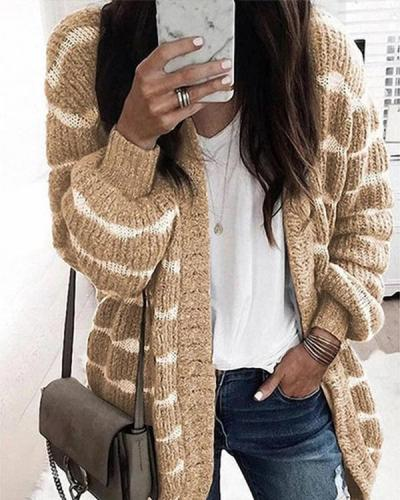 Casual Lantern Sleeves Warm Knit Cardigans
