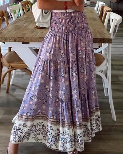 Women's Bohemian Printed High Waist A-Line Skirt