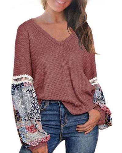 Floral Quilt Print Blouses Long Sleeve Top