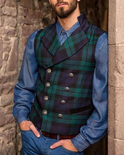 Men's Casual Plaid Double-Breasted Vests Men Tops