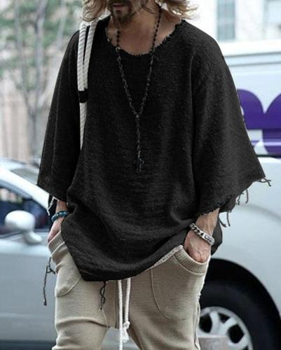 Men's Solid Color Round Neck Knit Tops