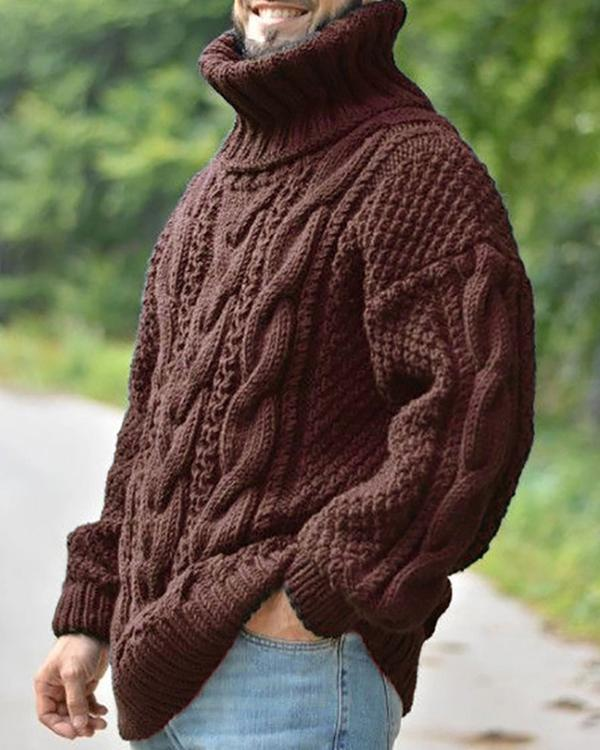 Casual Turtleneck Long Sleeve Solid Color Sweater
