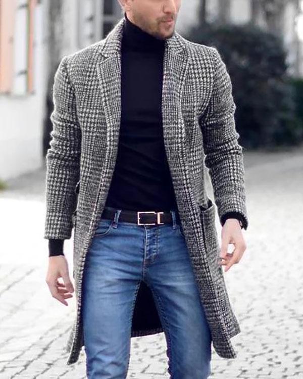 Mens Lapel Plaid Long Sleeve Fashion Coat