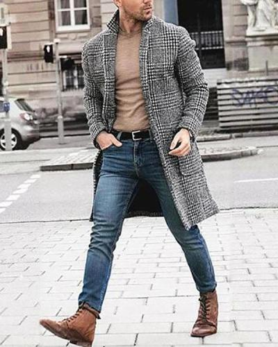 Mens Lapel Plaid Long Sleeve Fashion Coat