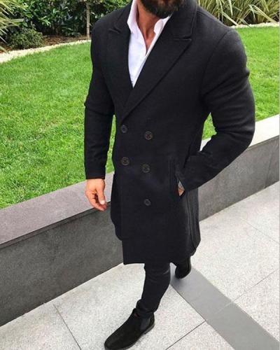 Men's Fashion Solid Color Autumn Winter Buttoned Coats