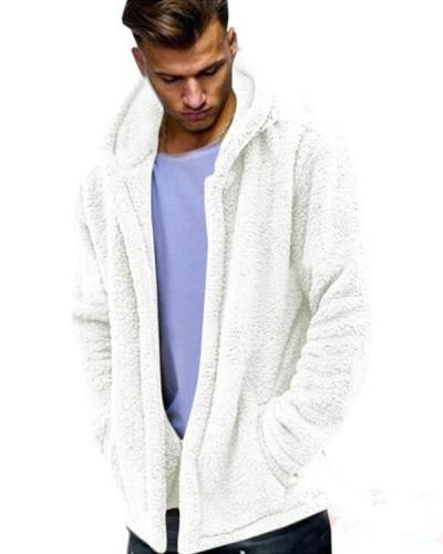 Mens Winter Casual Loose Fleece Solid Color Long Sleeve Warm Coat