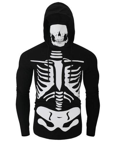 Mens Skull Printed High Collar Long Sleeve Casual Hoodies