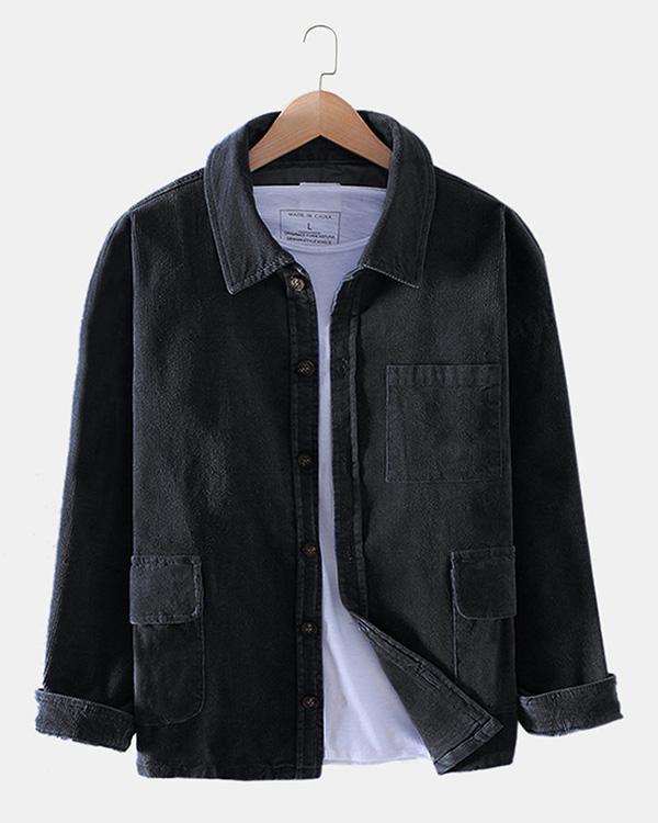 Mens Corduroy Plain Multi Pockets Long Sleeve Casual Shirts