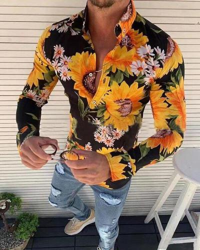 Vintage Floral Sunflower Printed Long Sleeve Slim Fit Shirts