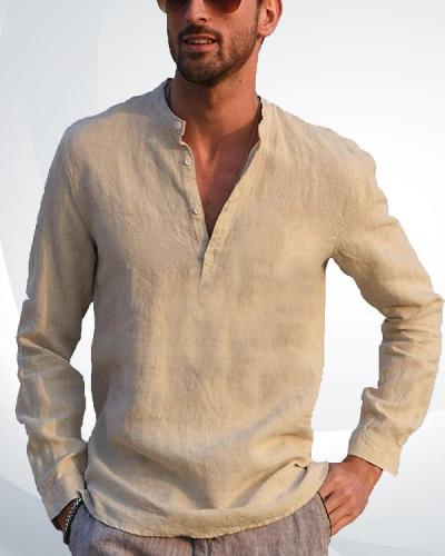 Men's Cotton Linen Henley Shirt Long Sleeve Casual T-Shirt