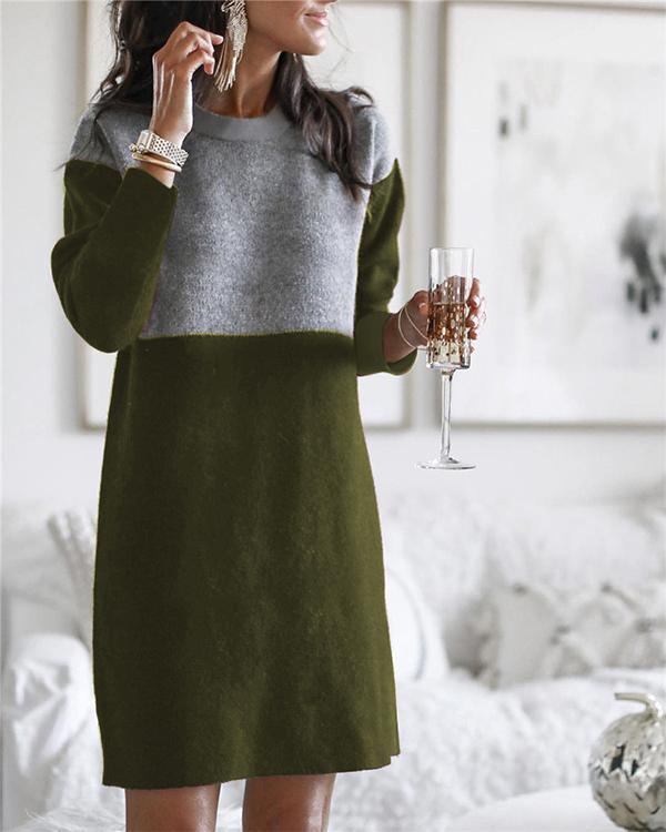 Women's Plus Size Color Block Round Neck Knitted Dress