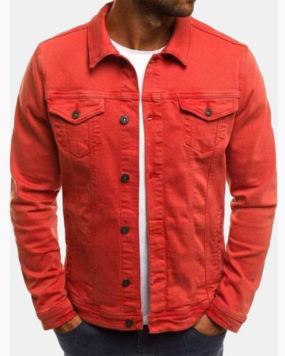 Men's Multi Pockets Cotton Turn Down Collar Fitness Denim Casual Jacket