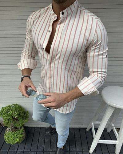 Mens Printed Stripe Patchwork Holiday Casual Shirts
