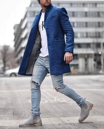 Mens Casual Pure Color Long Sleeve Warm Coat