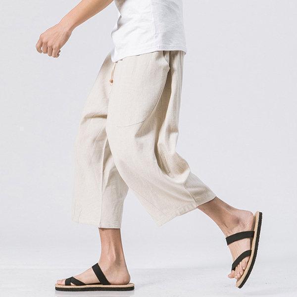 Breathable Cotton Linen Calf Length Loose Drawstring Shorts