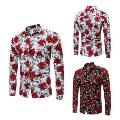 Men's Vintage Floral Print Long Sleeve Slim Shirt