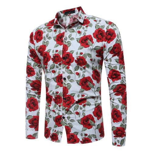 Men's Vintage Floral Print Long Sleeve Slim Shirt