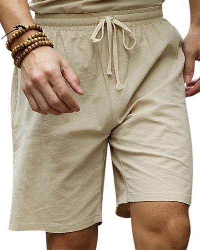 Summer Cotton Linen Drawstring Solid Color Knee Length Casual Shorts