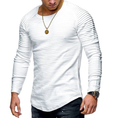 Men's Round Neck Slim Solid Color Long-sleeved Striped Fold Raglan Sleeve Style T-shirt
