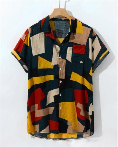 Men's Summer Hit Color Printed Chest Pocket Turn Down Collar Shirts