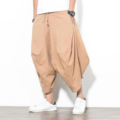 Cotton Harem Pants Solid Color Loose Fit Wide Leg Trousers