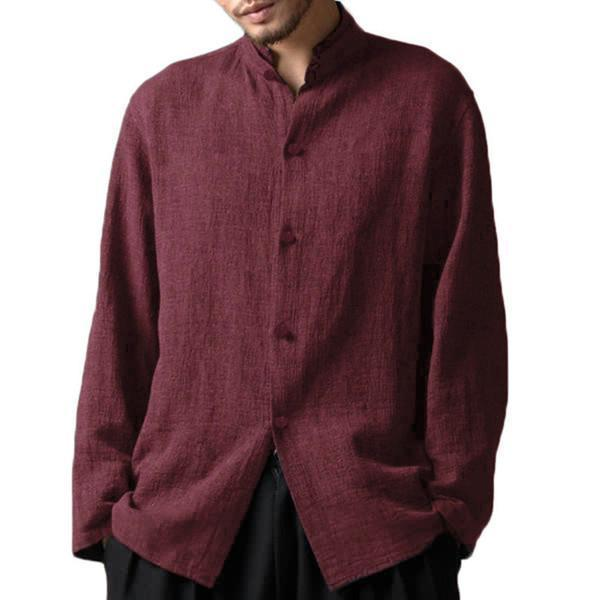 Vintage Style Stand Collar Casual Loose Shirt for Men
