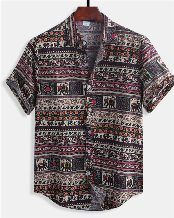 Men Floral Printed Ethnic Style Cotton Shirts Loose Casual Shirt Tops