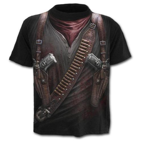 Stylish Black HOLSTER WRAP 3D Round Neck T-shirt