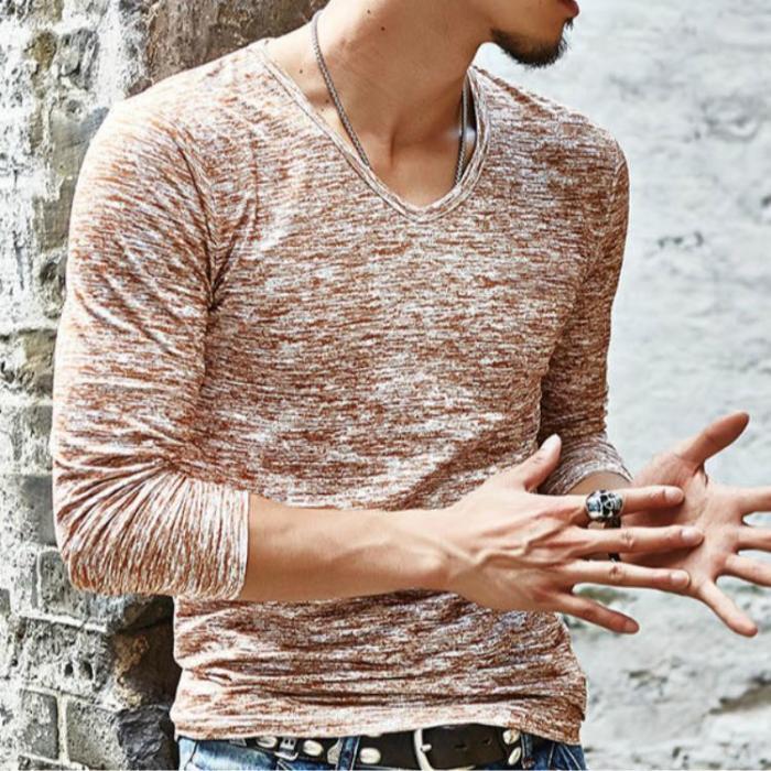 Men's Slim Fit V-Neck Long Sleeve T-Shirt Casual Tops