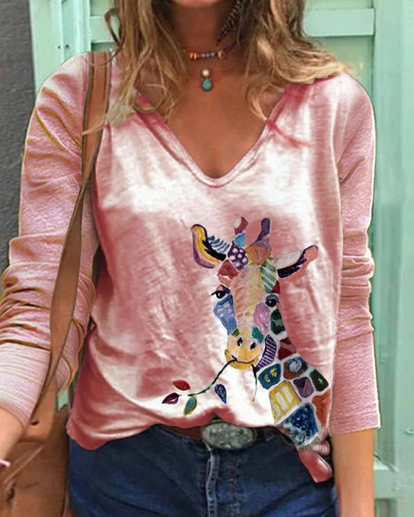 Women Colorflul Animal Print V Neck Long Sleeve T-Shirts
