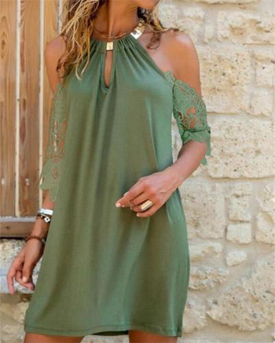 Lace Solid Cold Shoulder Sleeve Shift Above Knee Casual Vacation Dresses