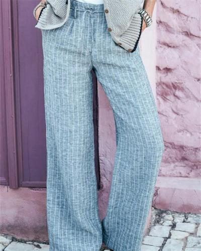 Striped Print Paneled Side Pockets Self-tie Casual Wide Leg Pants