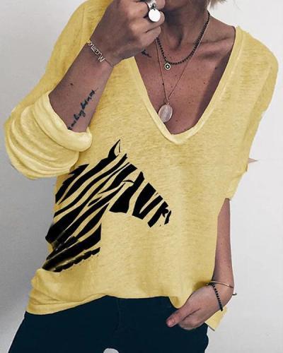 Women Zebra Print V Neck Polyester T-Shirts