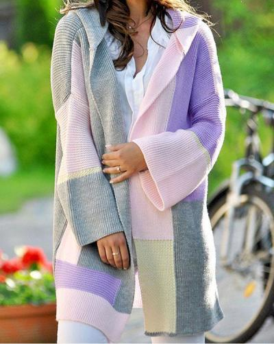 Long Sleeve Color Block Daily Coats