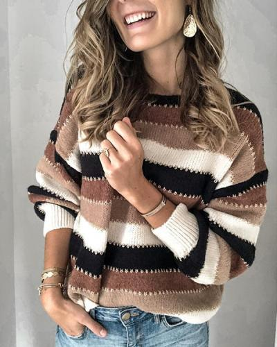 Women Striped Color-block Knitted Tops Sweaters