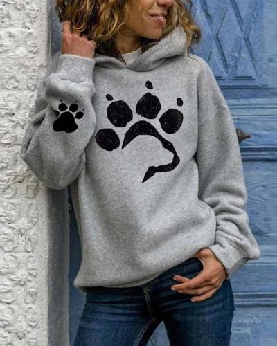Women's Dog Paw Prints Cozy Hoodie