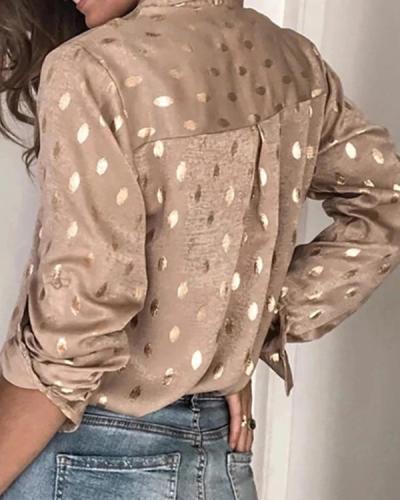 Long Sleeve V Neck Polka Dots Shirts
