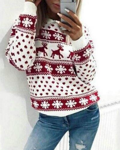 Fawn Print Christmas Sweater