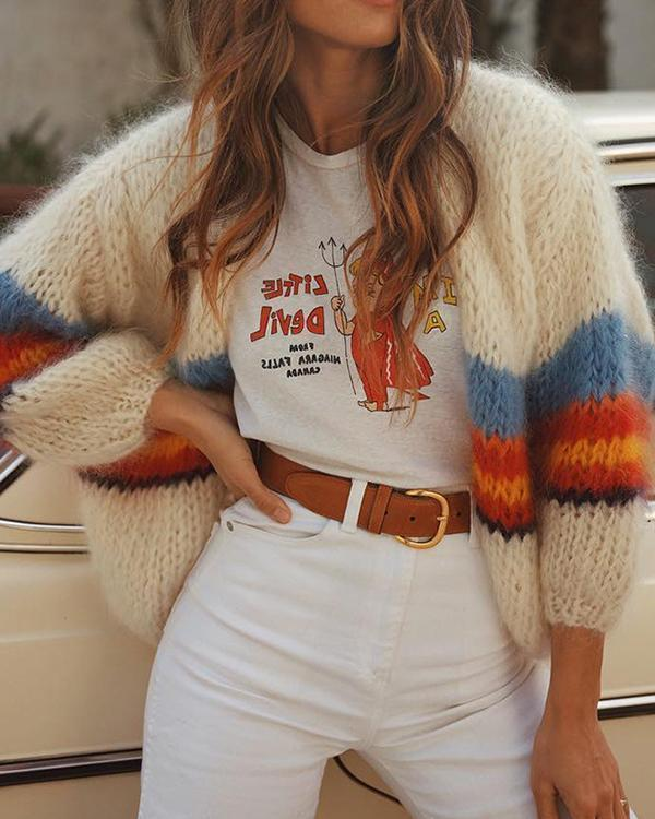 Fashion Casual Color Striped Long Sleeve Knit Cardigans