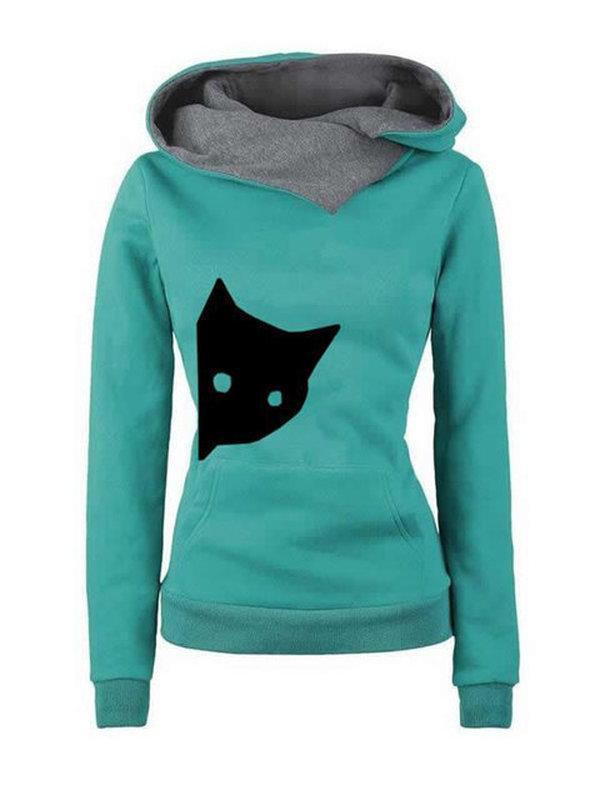 Women Long Sleeve Animal Cat Casual Plus Size Sweatshirts