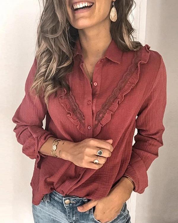 Modes Solid Color Lace Shirt