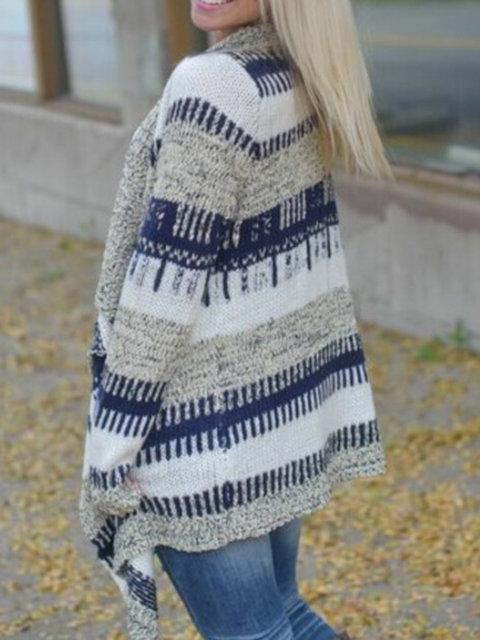 Blue Stripes Long Sleeve Asymmetric Kimono Coat