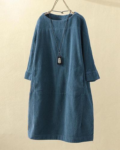 Vintage Pockets Corduroy Solid Color Loose Casual Dress