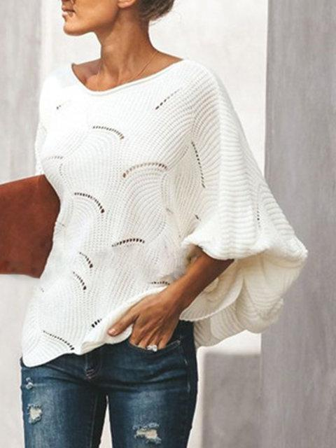 Long Sleeve Solid See-Through Look Crew Neck Sweaters