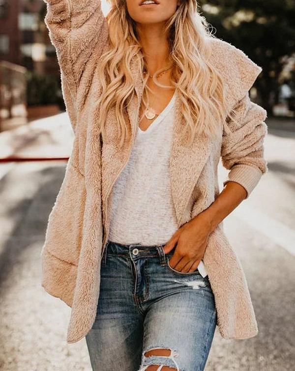 Fleeve Fuzzy Long Sleeve Sweet Pockets Teddy Bear Coats